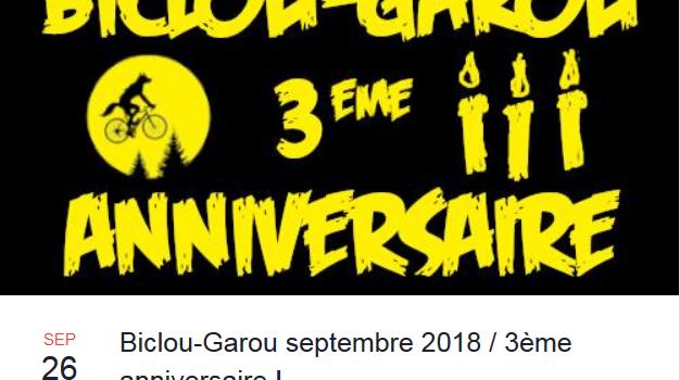Biclou-Garou, septembre 2018 / 3ème anniversaire ! le mercredi 26 sept.