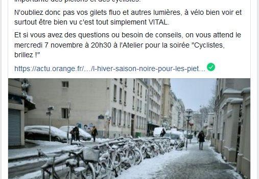 Soirée «Cyclistes, brillez !», le 7 nov.