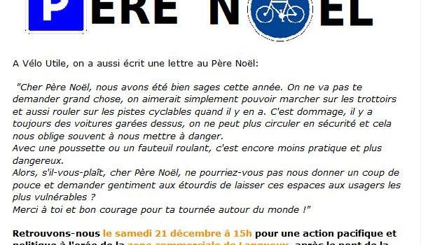 RDV Samedi 21 décembre à 15h pour une action «La lettre au père Noël de Vélo Utile»
