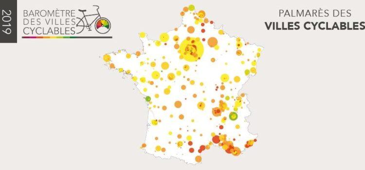 Palmarès du Baromètre Parlons vélo des villes cyclables 2019 de la FUB
